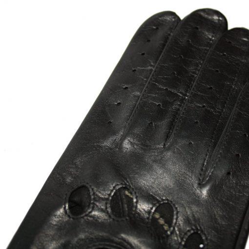 Finition Gant de Conduite en Cuir Noir pour Femme