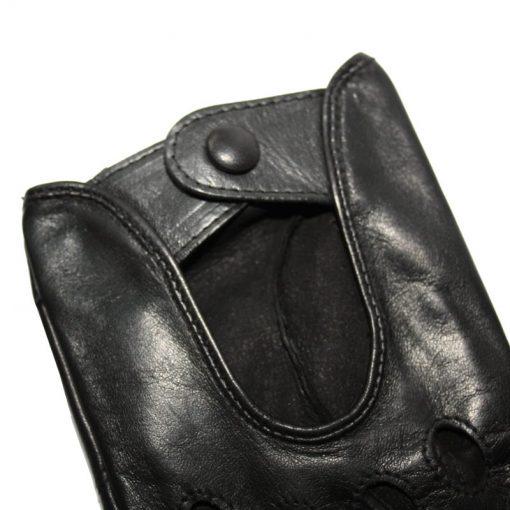 Bouton Pression Gant de Conduite Cuir Noir Femme