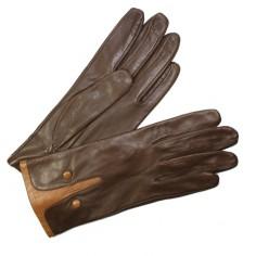 Gants Cuir Bicolores Marron Clair Femme Glove Story