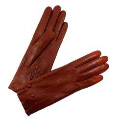 Gants Cuir Agneau Orange Doublé Soie Glove Story