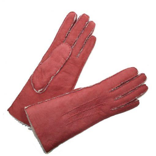 Gant Mouton Retourné Femme Rose Foncé Glove Story