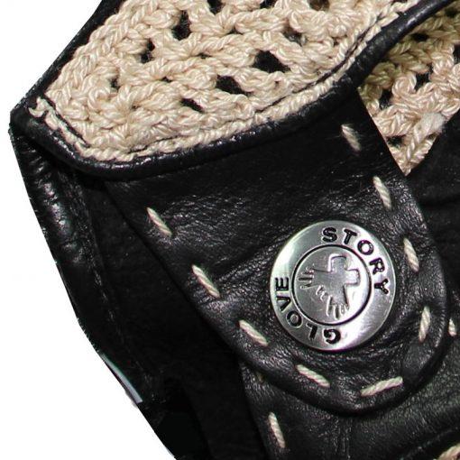 Gant Conduite Semi Doigts Crochet Cuir Agneau Homme Noir et Beige Glove Story