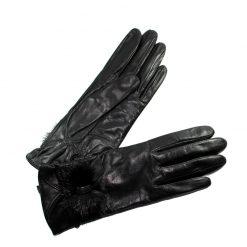 Gants Cuir Agneau Noir Femme Noeud Glove Story