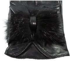 Gants Cuir Agneau Noir Femme Noeud Poils Glove Story