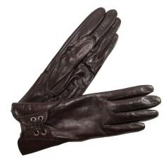 Gants Cuir Agneau Brun Lacets Poignets Manchette Cousu Glove Story