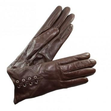 gants chaud cuir marron femme lacet 8 oeillets