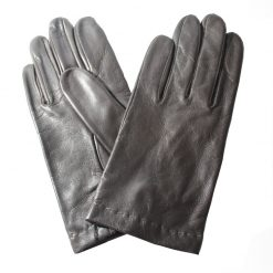 Gants en cuir doublure en soie homme noir