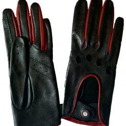 Gants de Conduite Homme Racing Cuir noir et rouge Glove Story