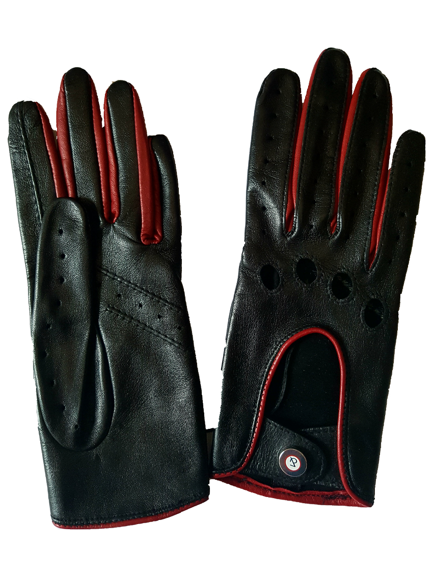 gants de conduite homme racing cuir noir et rouge glove story. Black Bedroom Furniture Sets. Home Design Ideas